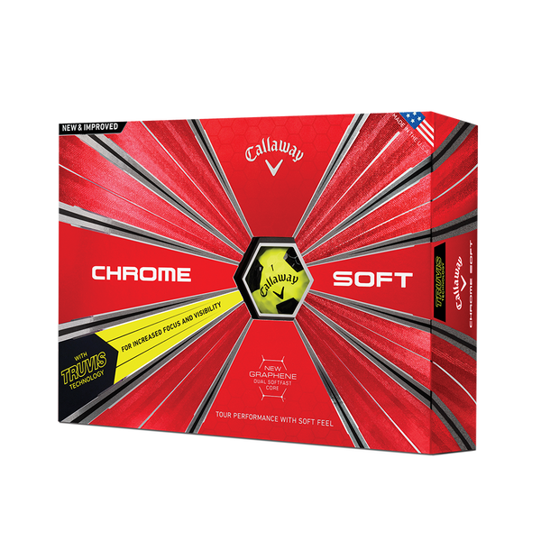 2018 Chrome Soft Truvis Yellow Golf Balls Technology Item