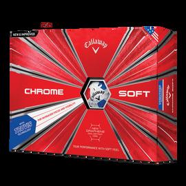 La nouvelle balle de golf Chrome Soft Truvis Blanc Rouge Bleu