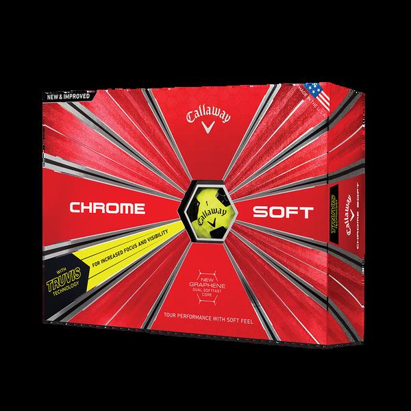 La nouvelle balle de golf Chrome Soft Truvis Jaune Technology Item